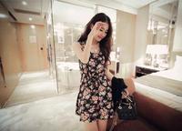Summer 2014 women's new Korean Floral Chiffon Dress loose sleeveless Camisoles skirt bottoming dress