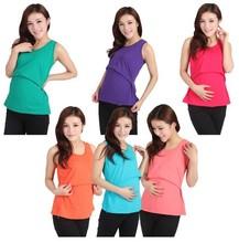 Summer Pregnant Women Elastic Cotton Nursing Tank Top Maternity Breast Feeding Vest Tees Shirt 10 colors(China (Mainland))