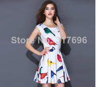 2014 Brand New Women'S Fashion Spring Bird Print Sleeveless A-Line Basic Dress  Free Shipping S-XL