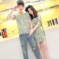 2014 Summer new Korean Fan the creative strapless long dresses lovers short-sleeved T-shirt for men and women