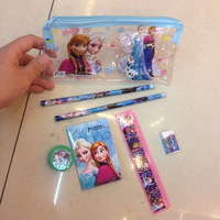 Free Shipping Frozen princess doll pattern 6in1 Stationery set pencil eraser ruler for kids Stationery bags 20Set/lot