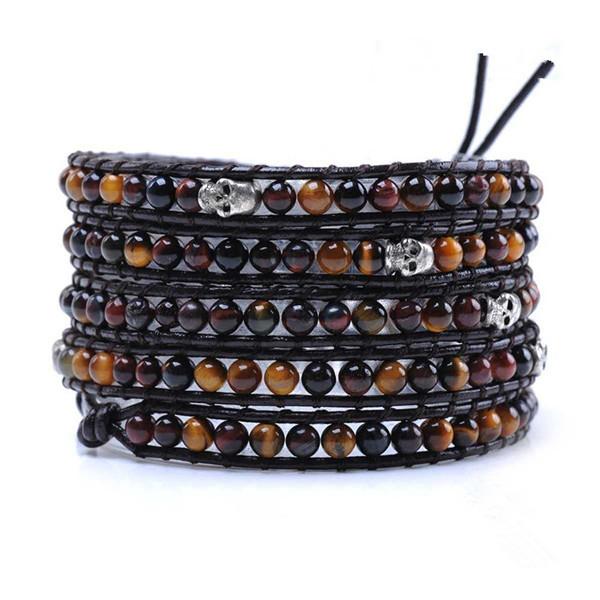 Wholesale Wrap Bracelets, Fashion Handmade Leather Bracelet 5 Rows tiger eye stone Beads with skull Leather Wrap Bracelets(China (Mainland))