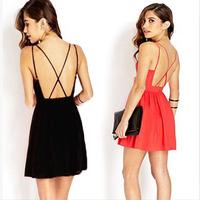 Wholesale casual women summer dress vestido chiffon 2015 sexy backless tropical beach dress roupas femininas red black