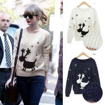 весной и зимой новый леди шею пуловеры сыпучих толщиной напечатаны оленя мохер пуловер свитер