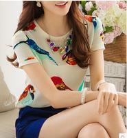 new 2014 Europe America fashion model clothing women blouse Chiffon shirt blusas plus size blouses camisas femininas print tops