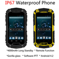 original MTK6572 Dual Core Android Gorilla glass O2 IP67 remote rugged Waterproof phone 3G GPS Long Standby 4000mAH PTT Oinom