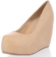 2014 new women fashion summer grain spring light lady sweet high heels wedges Sandal shoes platform Pumps Beige