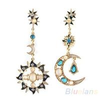 New Style Fashion Star Sun Moon Rhinestone Crystal Stud Dangle Pretty Earrings for women 04WH