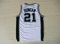 San Antonio #21 Tim Duncan white New Material Rev 30 Embroidery Basketball Jersey