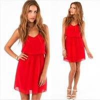 New fashion Brand European Sexy V-neck women summer dress 2014 autumn bohemian chiffon party dresses White Red