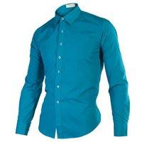 2014 Spring Fashion New Long Sleeve Shirts Men, Pure colour Slim fit,Outerwear Casual Shirts Men,Drop&Free Shipping S-XXXL