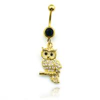 2014 NEW Hot Body Jewelry, Luxury Navel Piercing,Navel buckle, Semi-Precious Stones Gold Owl Embellishment Selling Model DQK0759