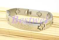 High Quality Bible Printed Titanium Steel Bracelet Fashion Black Silver Color Men Jewelry Accessories