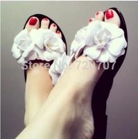 2014 Summer New sandals beach shoes Brazil Brand M camellia Flowers flip flops Candy colors Casual shoes women flats EUR 36-40
