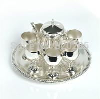 High quality European style shiny silver finish coffee set, 1 set= 1 plate+1 pot+ 6 cups, metal tea set/wine set