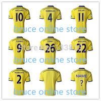 2014-2015 Frabregas Lampard MATA HAZARD TORRES OSCAR DAVID LUIZ Jersey 14 15 Chelsea Away Jersey TOP Thai Quality Yellow Jersey