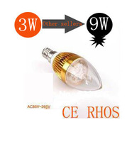 3W 4W 5W E14 35mil 500lm LED Candle light / Dimmable E14 CE&ROHS Equivalent to 9W incandescent lamp Free Shipping