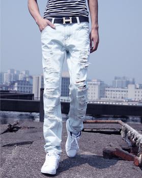 Горячая! Новое поступление мужские белая дыра джинсы нищий стиль брюки мужской конус ...