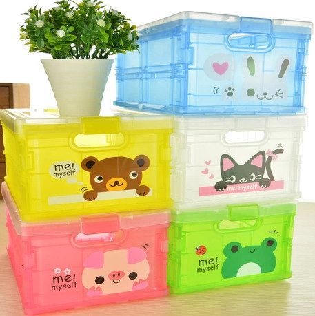 Folding clothes children's room covered storage box toy box sorting box Cabernet cartoon plastic storage box(China (Mainland))
