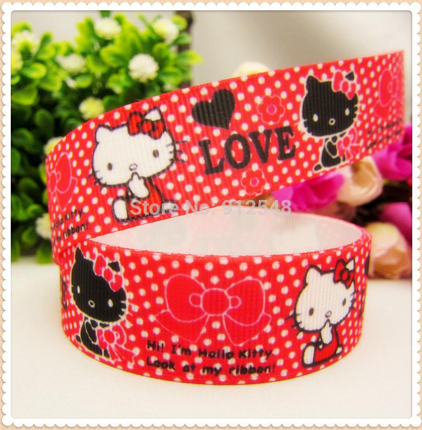 MD62855, 22mm hello kitty Printed grosgrain ribbon, DIY handmade materials, headwear accessories, wedding gift wrap(China (Mainland))