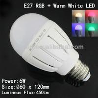 Free shipping 2.4G 6W RGBW Led Bulb AC85-265V Wifi RGBW E27 Led Bulb Full Color Dimmable Brightness 4pcs+ 1X2.4G Controller