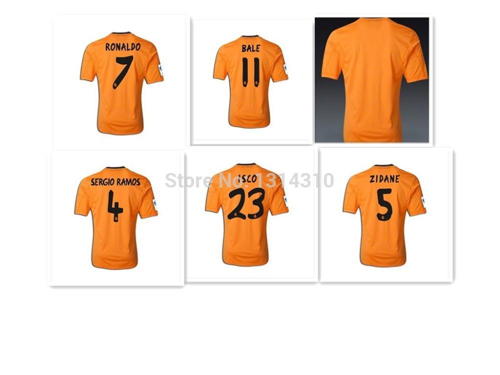 2014/15 Real Madrid Away third shirt short sleeves Orange A + + + Thailand Quality Soccer jerseys football uniform bale(China (Mainland))