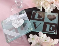 2014 New wedding favor LOVE glass coaster wedding party guest gifts give-away souvenirs bridal shower favors 2pcs/set