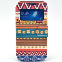 High quality S View Color drawing fashion leather flip case stand cover for Samsung galaxy S4 MINI I9190