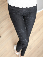 Plus size XXL 2014 women spring and autumn Elasticity lace leggings hip body sculpting temperament Pencil pants,black white