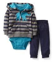 1pcs baby boy's long sleeve suit 2014 autumn carters stripe elephant jackets+ infant romper 3-piece pants set leisure outfits