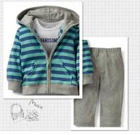 1pcs baby boy's long sleeve suit 2014 autumn carters stripe hooded jackets+grey infant romper 3-piece pants set leisure outfits