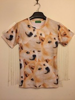 2014 New 3d dogs T-shirts Funny covered with large nugget doge couple T-shirt God annoying dog Shiba Inu M/L/XL/XXL