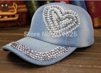 2014 New Top Design Adjustable Baseball cap Fashion Leisure Rhinestones Heart Jean Snapback Baseball Hat Cap For Women H073