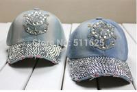 2014 New Top Design Adjustable Baseball cap Fashion Leisure Rhinestones Jean Snapback Baseball Hat Cap For Women H075