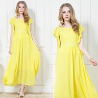 2014 spring and summer yellow chiffon one-piece dress bohemia dress full beach dress