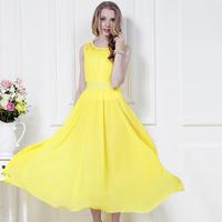 2014 spring and summer yellow lace chiffon one-piece dress bohemia beach full dress