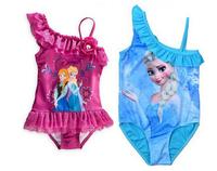 2014 Baby Girls Frozen Elsa Anna One Pieces Swimwear Children Frozen Swimsuit Frozen Bathing Suit Kids Swimsuit 2-10Y