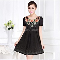 Free Shipping 2014 Summer New Embroidered Black Slim Thin Short-Sleeved Dress 5XL Plus Size Women