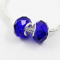 100Pcs/Lot Larger Hole Rhombus Crystal Loose Beads Dark Blue Free Shipping