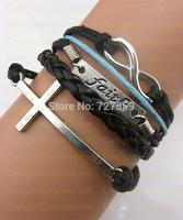 (Min Order $6) Infinity Bangle Antique Silver Karma Cross Faith  Rope Girl Leather Bracelet Gift Fashin Jewelry