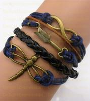 (Min Order $6) Infinity Bangle Antique Bronze Karma Arrow Dragonfly Rope Girl Leather Bracelet Gift Fashin Jewelry