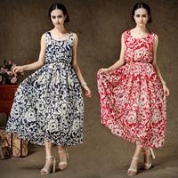 vintage full dress elegant vest fairy chiffon female one-piece dress bohemia dress beach