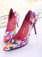 2014 New Spring Women Sexy High Heels Flowers Printing Pointed Toe Pumps Free Shipping Women Pumps platform designer pumps