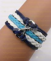 (Min Order $6) Handmade Bangle Antique Silver Karma Infinity Rope Girl Leather Bracelet Gift Fashin Jewelry