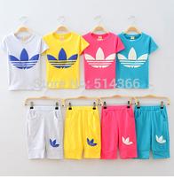 New 2014 children clothing set girls/boys set baby clothes sets short t-shirt+pants suit set 4 colors