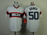 New Baseball Jerseys White Sox #50 Danks Jersey Throwback White Color Cool Base Jersey Stitched Size 48-56 Mix Order