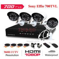 4CH 960H Home Security System Surveillance 1080P HDMI DVR 4PCS Sony Effio 700TVL IR Outdoor Weatherproof CCTV Camera 24 LEDsKits