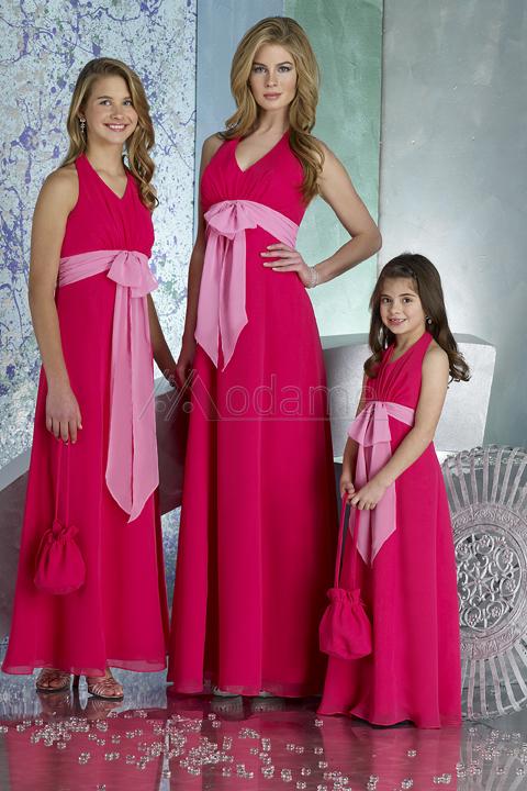 modesto halter chiffon uma linha para casamentos até o chão adolescentes 2014 júnior meninas um893 borgonha vestidos de dama de honra(China (Mainland))