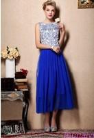 New Arrival 2014 High Quality Beaded Embroidery Blue White Porcelain Sleeveless Pleate Chiffon Floor Length Celebrity Dresses