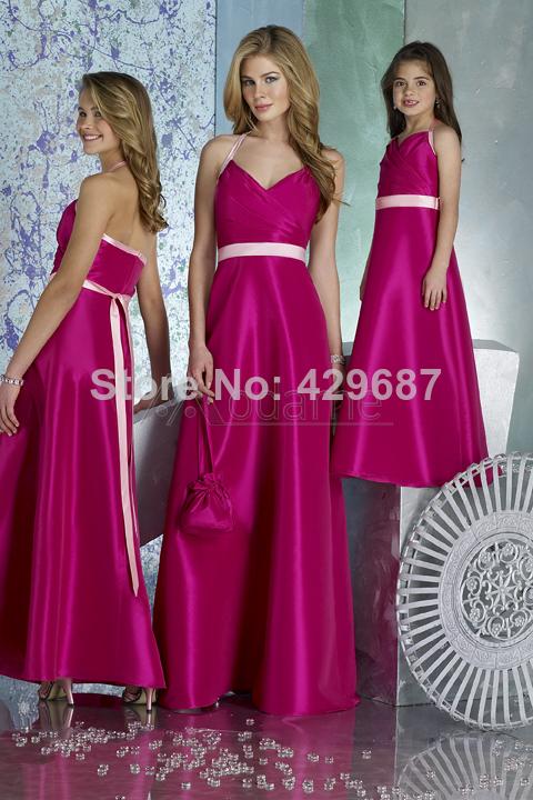 Modest Halter A linha de cetim para casamentos bonito andar de comprimento adolescentes 2014 Fuchsia júnior raparigas vestido da dama de UM882(China (Mainland))